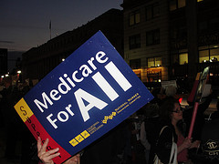 Medicare For All Sign at NYC Rally for Health Care