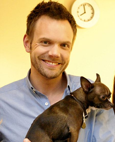 Joel McHale with his chihuahua Lou