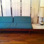 Midcentury sofa before reupholstering.